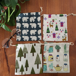 Wholesale Kids Christmas gift candy bags home Christmas tree deer bear feeder print Storage bags DIY gift packaging Biscuits bag
