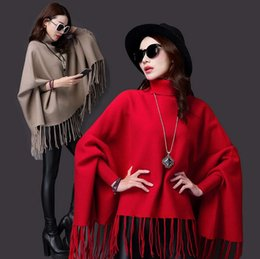Wholesale Capes Shawls Ponchos For Women - Women Fall And Winter Sweaters Knitted Mink Cashmere Coat Cape & Poncho Bat Shirt Tassel Cloak Shawl Coat Turtleneck Sweater For Women