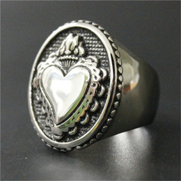 2pcs lot Personal Design New Arrival Polishing Love Heart Ring 316L Stainless Steel Jewelry Cool Design Lovers Ring