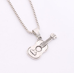 Wholesale 2016 Hot x12 mm Antique Silver Acoustic Guitar Music Player Pendant Necklaces inches Chains N291