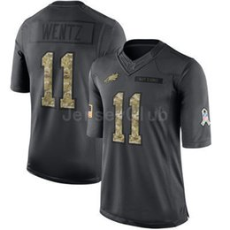 Wholesale New Good quality Limited Eagles Carson Wentz Black Admiral Salute To Service Stitched Embroidery Logos America Football Jerseys