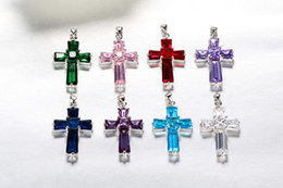Wholesales fashion cross cubic zircon sapphire pendant jewellery high quality with different color 6 pcs one lot