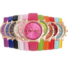 Unisex Geneva Leather PU Quartz Watches Men Women Luxury Brand Numerals Roma Men's Watch Casual dress wrist watches wholesale