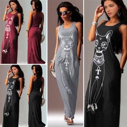Sexy Evening Party Dresses Women 2016 Summer Dress Vestidos Wine Red Black Sexy Cartoon Cat Print Boho Long Maxi Beach Dresses