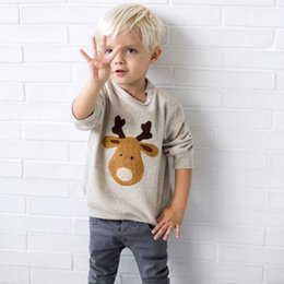 Wholesale BST17 NEW ARRIVAL Little Maven boys Kids Cotton Long Sleeve O neck cartoon deer print T shirt boys causal spring autumn t shirt