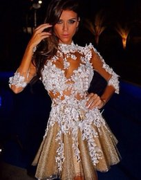 Summer short homecoming dresses 2019 8th grade prom dresses Applique Lace Gowns See Through Mini Club Wear Long Sleeve Cocktail Dresses