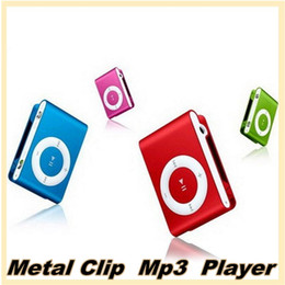 Wholesale MP3 Player Portable Metal Clip mp3 Colorful Support Micro SD TF Card Music Media Without TF Card USB Cable and headphones