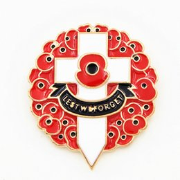 Gold Plated Luxury Red Colored Enamelled UK Fashion Poppy Brooch The British Remembrance Days Poppy Brooch Souvenir High Quality Cross Pins