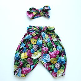 Wholesale sample sale summer autumn winter baby girls children kids long pants harem pants vintage floral printing cotton bow pants for baby girls