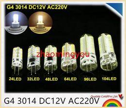 100pcs lot G4 3014 DC12V AC220V Silicone LED Corn Light Crystal Lamp Bulb, 24 32 48 64 96 104 LED