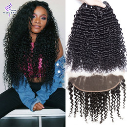 Brazilian Virgin Hair 4 Bundles with Frontal Closure Ear to Ear Lace Frontal Closure with Baby Hair Brazilian Curly Weave Human Hair Weave