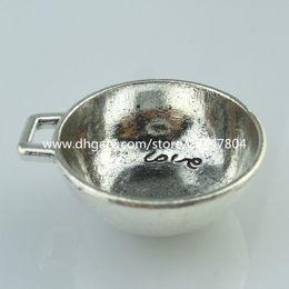 Wholesale 14275 Alloy Antique Silver Vintage Pan Bowl Words Love You Pendant Jewelry