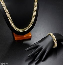 High Quality Men Silver Gold Plated HipHop Iced Out 3 Row Simulated Diamond Bling Bling Chain Bracelet Set Jewelry