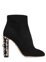 2016 New Europe winter suede diamond heel ladies short boots round toe high heel slip-on thick heel mid-calf banquet boots
