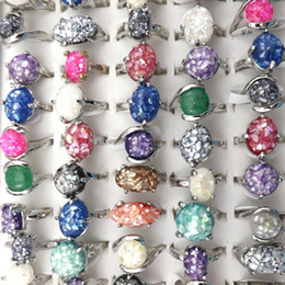 Mixed Lot Colorful Shell Rings For Women 50pcs Lot Wholesale