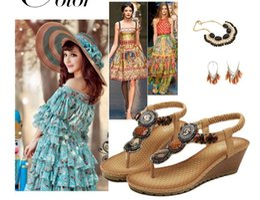 Us size: 5-8.5 women sandals fashion beads gladiator sandals women summer women shoes woman 6 cm high heels platform sandals