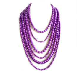 Purple Statement Seven Layered Beaded Necklace, Hand Making Fashion Trendy Necklace, Holiday Women Necklace, Wholesale Free Shipping Jewelry