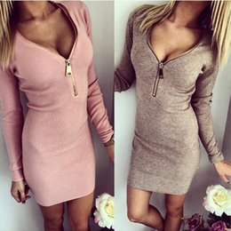 Wholesale DY13 NEW ARRIVAL EURO STYLE sexy V neck zipper party dress lady casual long sleeve slim dress free ship