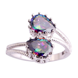 Wholesale Women Free Shipping Silver Ring Size 6 7 8 9 10 11 Rainbow Topaz Party Fashion 925 Gems Jewelry