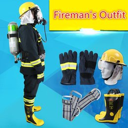 Wholesale Protective Clothing For Fire Fighters one set Helmet Gloves Belt Boot Suit fire proof fabric Double deck Removable