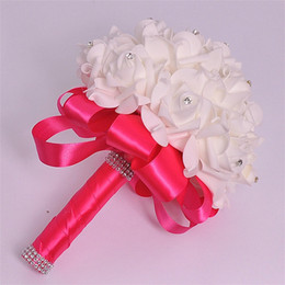 Bridal Bridesmaid Wedding Bouquet Decoration Artificial Roses Flower Foam Hand Bouquet Party DÉCor Western-Style Wedding