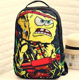 Wholesale Sponge Bob spray ground backpack Angry Rambob pattern bag Nylon daypack Cool style street rucksack Sprayground design daypack