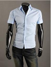 Wholesale Selling men s short sleeve colors Slim lapel solid color cardigan shirt air transport more you buy