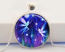 Wholesale Fairies Flying necklace Photo Pendant Necklace Altered Art Picture Pendant necklace Handcrafted Jewelry Glass Dome Pendant Necklace