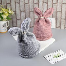 Wholesale 2016 Cute Baby rabbit beanie girls hats Toddler winter Beanie Hat Cap M T