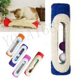 Wholesale 1 Pet Cat Kitten Kitty Toy Long Rolling Scratching Toys Ball Sisal Scratch Post Trapped Ball Training Tool Animal Supplies