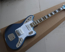 Hot Sale Factory Custom Electric Guitar with Metallic Blue Body,Chrome Hardware,White Pearl Pickguard,Can be Customized