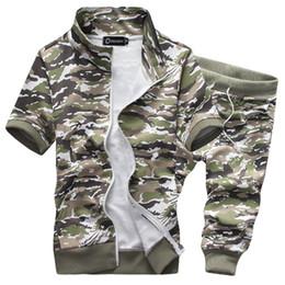 Wholesale summer men sport hoodies suit short sleeve camouflage military tracksuit sweatshirts M XL JPYG18