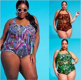 Wholesale Plus size swimwear Bikini painting tassel terylene woman swim suits bathing suits styles European style