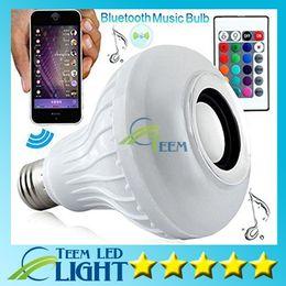 Wholesale DHL LED Bulbs Wireless Bluetooth E27 W Audio Speaker smart light LED lamp RGB Music Playing Lighting With Keys IR Remote Control