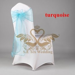 Wholesale Good Quality Poly Universal Lycra Spandex Chair Cover And Turquoise Color Organza Chair Sash