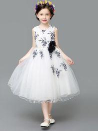 The new 2016 European and American girls dress summer performing dress children dress princess dress veil flower girl dress skirt of bitter