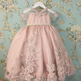 Vintage Real Image Flower Girls' Dresses For Weddings Short Sleeve Bead Little Girl Pageant Gowns Lace Applique Floor Length Communion Dress