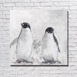 Wholesale hand painted animal oil painting penguin big size bird picture cheap modern canvas art