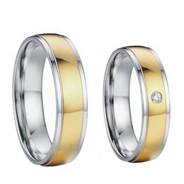 Bague de fiançailles en titane or à vendre-18k plaqué or pour elle et lui des bandes d'acier de mariage nuptiale de titane de santé engagement couples anneaux ensembles pour les hommes et les femmes 2015