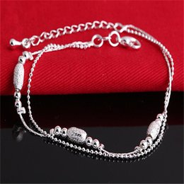Strand Beads Pulseras 925 Sterling Silver Bracelet Charm Bracelets for women Fashion Jewelry Gift 10pcs lot Best price