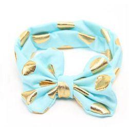 Hotsell Baby Gilrs Gold Polka Dots Bows Headband Kids Toddle Turban Head Wraps Hair Band Accessories