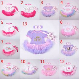 Wholesale Baby Christmas Xmas Minnie rompers set suits happy birthday Newborn girl Lace Short sleeve rompers cake dress Hair band shoes B001