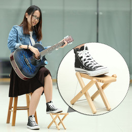 Wholesale Foldable Wood Guitar Pedal High Quality Guitar Foot Rest Stool Adjustable Height Levels Beech Wood Material I1867