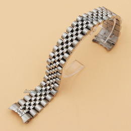 Wholesale 20mm Stainless steel Bracelet Curved end Silve Watchband watch Strap Fit For rolex watch Man