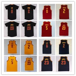 Wholesale 0 Kevin Love Kyrie Irving Shirt Uniforms Jr Smith with sleeve Black Navy Blue White Red Yellow LeBron James Jersey