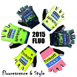 Wholesale 2015 Pro Team Tinkoff SAXO bank Cycling Gloves fluo green yellow pink Bicycle Gear Riding Guantes Ciclismo half finger gloves