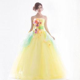 light yellow flowers fairy fancy ball gown Medieval Renaissance Gown Victorian Antoinette Belle Ball stage performance