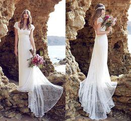 2016 Boho Lace Beach Bohemian Wedding Dresses Cap Sleeves Open Back Brush Train A-line Bridal Gowns Plus Size