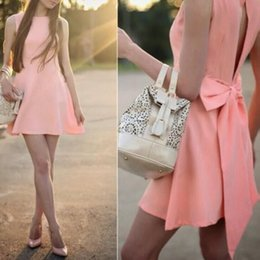 2016 Hot Sale Summer Style Sexy O-Neck Pink Women Dress Sleeveless Bow dresses slim A-line mini dress