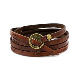 Le commerce de la peau en Ligne-Le commerce extérieur européen Nouveau motif Bracelet Embossed Lettre FRIEND Bracelet Peau 4 Cercle Wrap Lettrage Lucky Skin Hand Bring